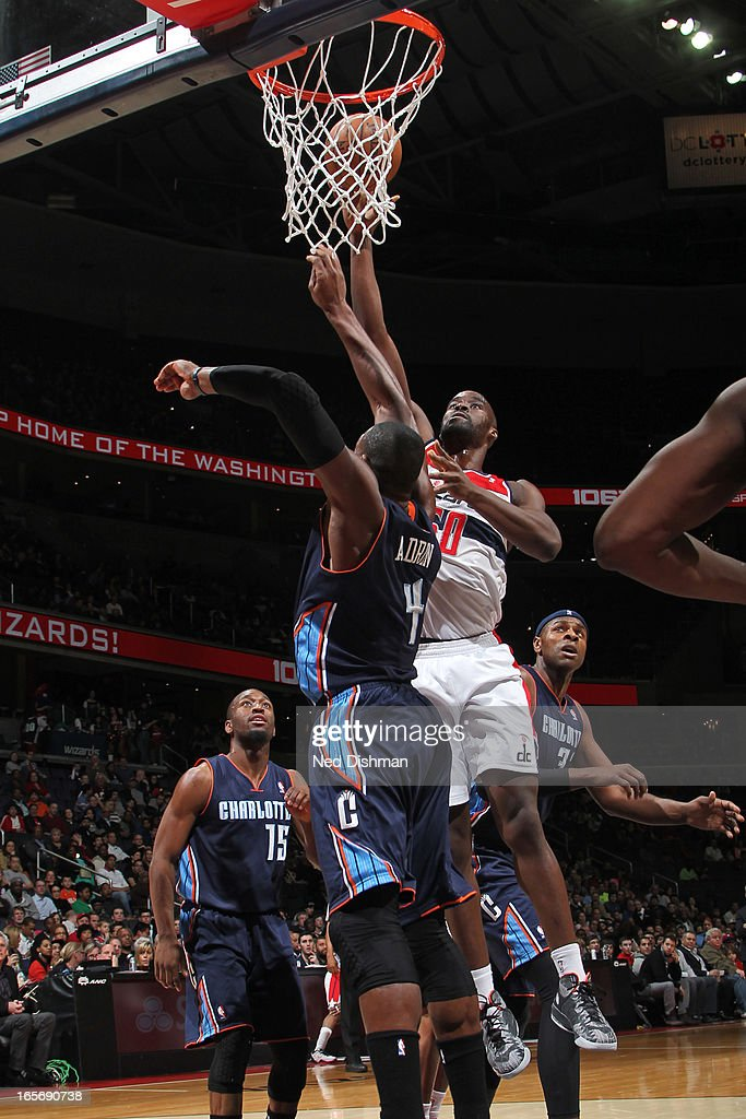 Emeka Okafor #50 of the Washington Wizards puts up a shot against the Charlotte Bobcats at the Verizon Center on March 9, 2013 in Washington, DC.
