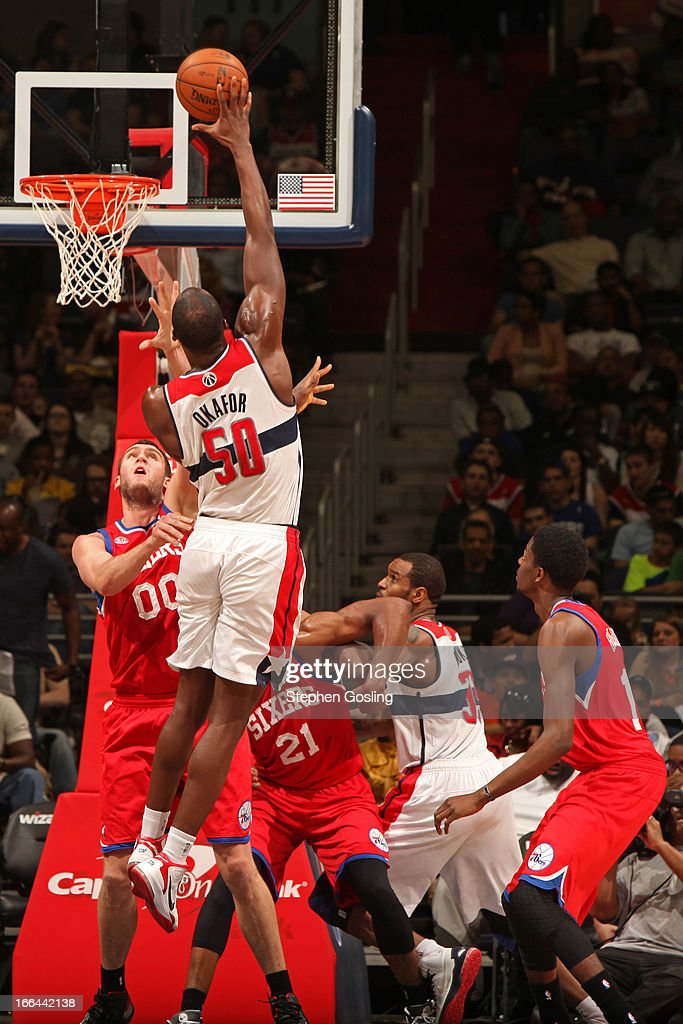 <a gi-track='captionPersonalityLinkClicked' href=/galleries/search?phrase=Emeka+Okafor&family=editorial&specificpeople=201739 ng-click='$event.stopPropagation()'>Emeka Okafor</a> #50 of the Washington Wizards puts up a shot against the Philadelphia 76ers at the Verizon Center on April 12, 2013 in Washington, DC.