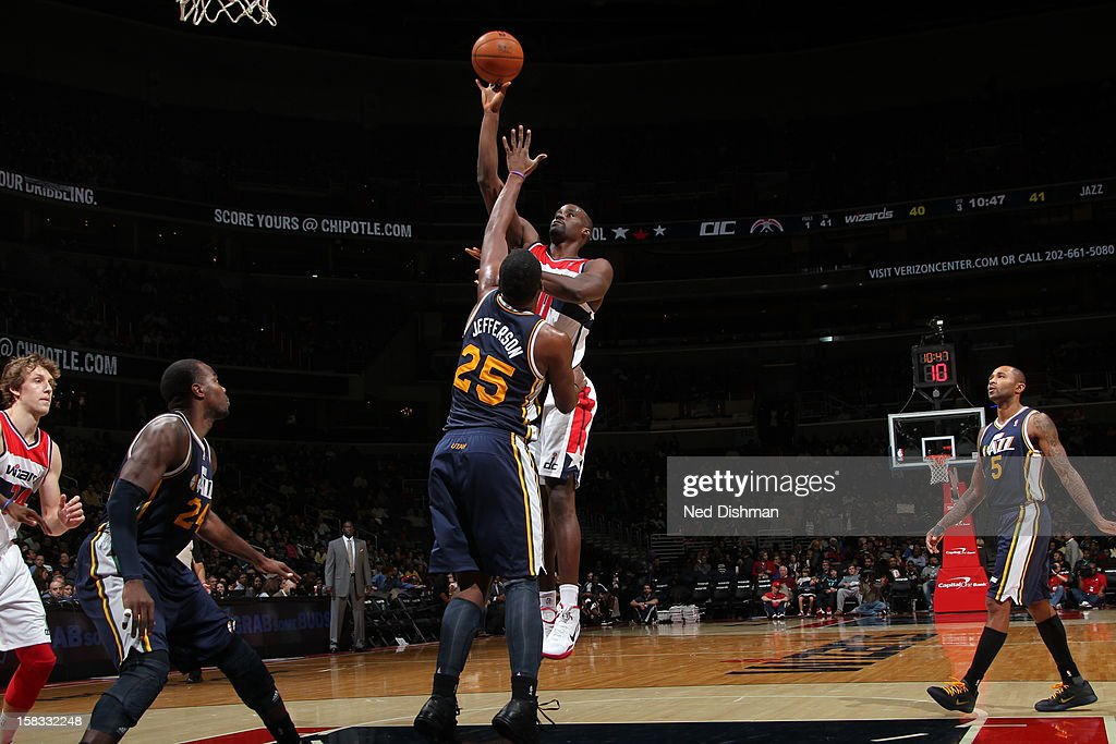 <a gi-track='captionPersonalityLinkClicked' href=/galleries/search?phrase=Emeka+Okafor&family=editorial&specificpeople=201739 ng-click='$event.stopPropagation()'>Emeka Okafor</a> #50 of the Washington Wizards puts up a shot over <a gi-track='captionPersonalityLinkClicked' href=/galleries/search?phrase=Al+Jefferson&family=editorial&specificpeople=201604 ng-click='$event.stopPropagation()'>Al Jefferson</a> #25 of the Utah Jazz at the Verizon Center on November 17, 2012 in Washington, DC.