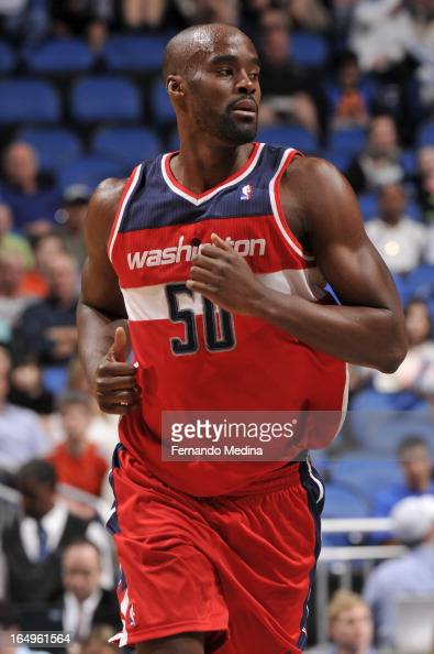 Emeka Okafor of the Washington Wizards runs up the floor against the Orlando Magic during the game on March 29 2013 at Amway Center in Orlando...