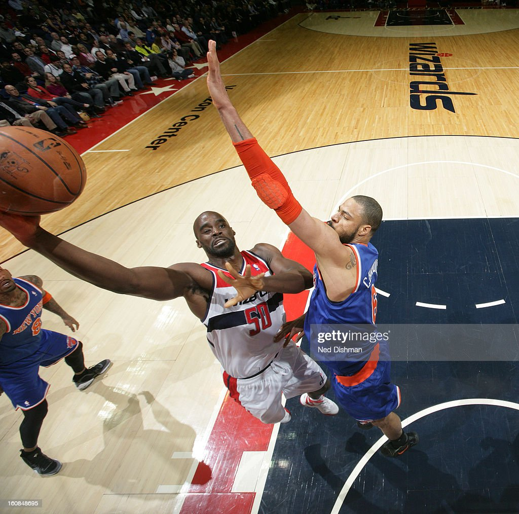 <a gi-track='captionPersonalityLinkClicked' href=/galleries/search?phrase=Emeka+Okafor&family=editorial&specificpeople=201739 ng-click='$event.stopPropagation()'>Emeka Okafor</a> #50 of the Washington Wizards shoots against <a gi-track='captionPersonalityLinkClicked' href=/galleries/search?phrase=Tyson+Chandler&family=editorial&specificpeople=202061 ng-click='$event.stopPropagation()'>Tyson Chandler</a> #6 of the New York Knicks during the game at the Verizon Center on February 6, 2013 in Washington, DC.