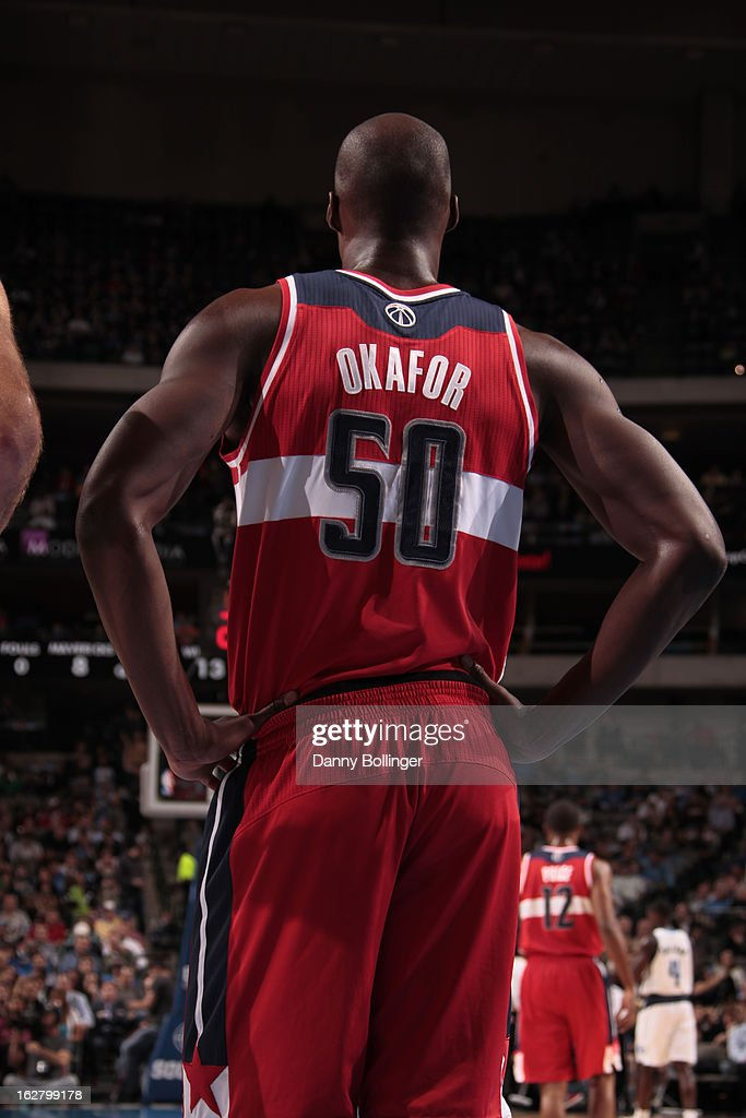 <a gi-track='captionPersonalityLinkClicked' href=/galleries/search?phrase=Emeka+Okafor&family=editorial&specificpeople=201739 ng-click='$event.stopPropagation()'>Emeka Okafor</a> #50 of the Washington Wizards stands on the court during the game against the Dallas Mavericks on November 14, 2012 at the American Airlines Center in Dallas, Texas.
