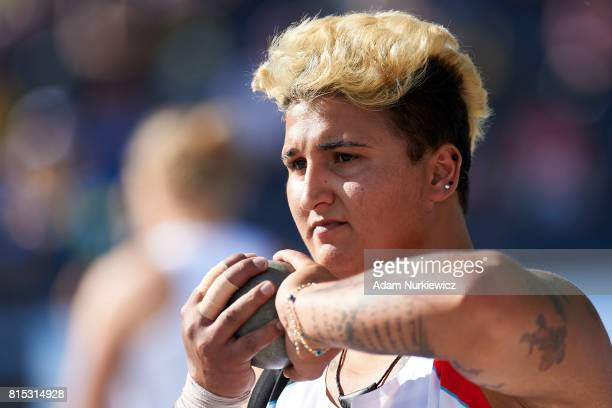Emel Dereli from Turkey competes in women's shot put final during Day 3 of European Athletics U23 Championships 2017 at Zawisza Stadium on July 15...