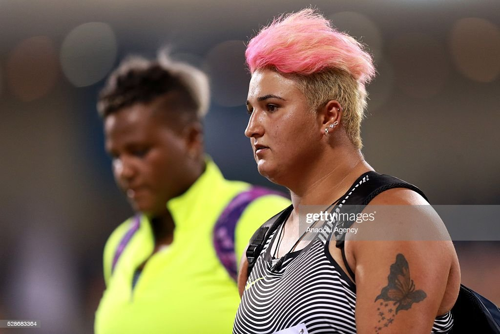 Emel Dereli of Turkey competes in the Shot Put at the IAAF Diamond League 2016 competition at the Suheim Bin Hamad Stadium in Doha, Qatar on May 6, 2016.