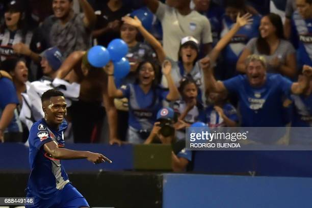 Emelec's Carlos Orejuela celebrates his goal against Melgar from Peru during their 2017 Copa Libertadores football match at George Capwell stadium in...