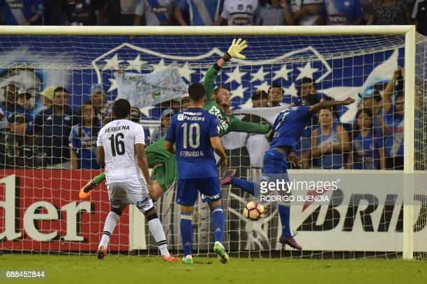 Emelec's Carlos Orejuela scores a goal against Melgar from Peru during their 2017 Copa Libertadores football match at George Capwell stadium in...