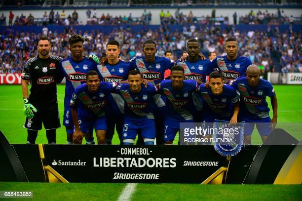 Emelec's players pose before their 2017 Copa Libertadores football match against Peru's Melgar at George Capwell stadium in Guayaquil Ecuador on May...
