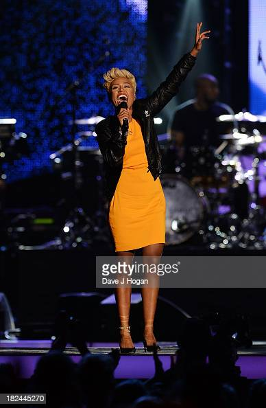 Emeli Sand performs at 'Unity A Concert For Stephen Lawrence' in aid of The Stephen Lawrence Charitable Trust at the O2 Arena on September 29 2013 in...