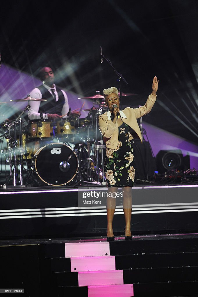Emeli Sandé performs on stage during the Brit Awards 2013 at the 02 Arena on February 20, 2013 in London, England.