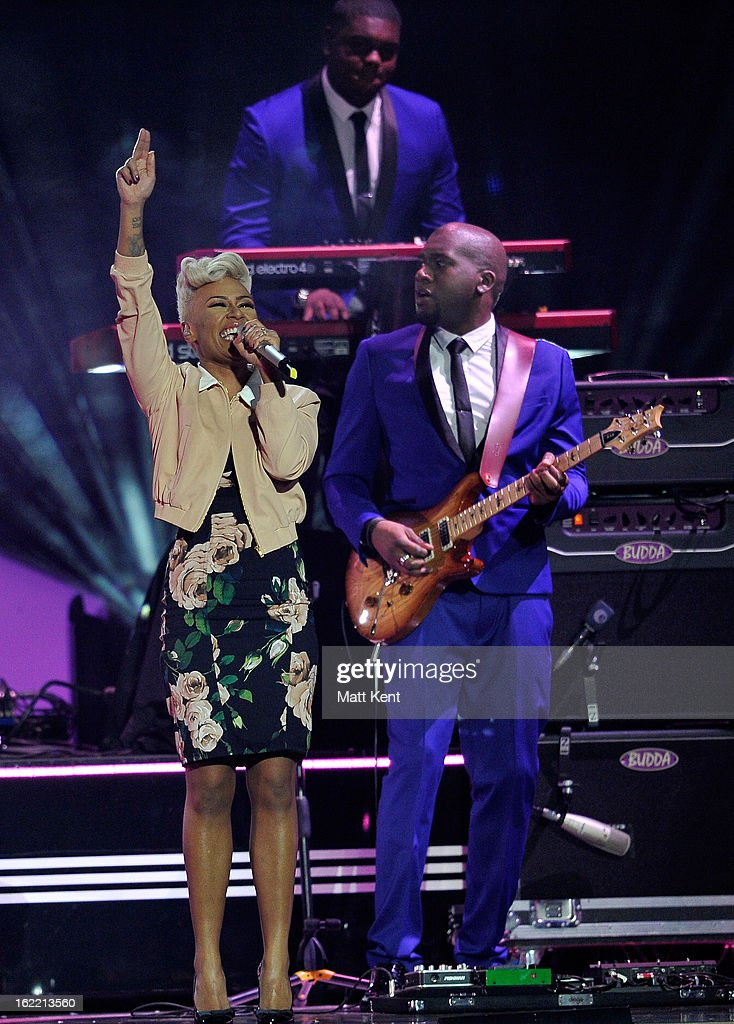 <a gi-track='captionPersonalityLinkClicked' href=/galleries/search?phrase=Emeli+Sand%C3%A9&family=editorial&specificpeople=7220317 ng-click='$event.stopPropagation()'>Emeli Sandé</a> performs on stage during the Brit Awards 2013 at the 02 Arena on February 20, 2013 in London, England.