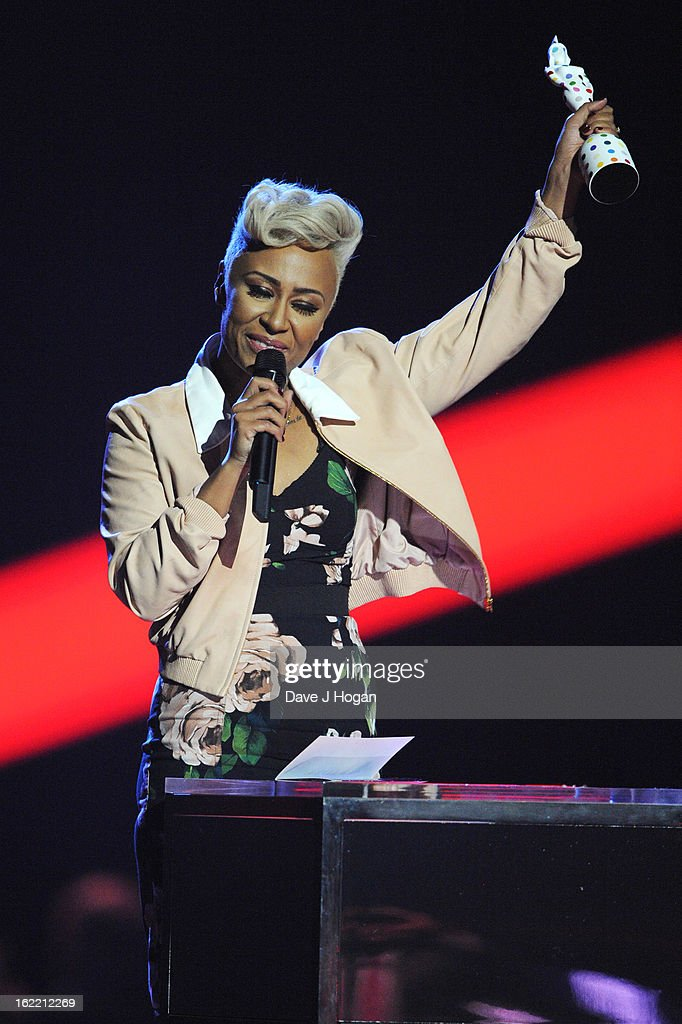 Emeli Sande accepts her Mastercard British Album Award at The Brit Awards 2013 at The O2 Arena on February 20, 2013 in London, England.