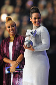 Emeli Sande and Alicia Keys on stage during the MTV EMA's 2014 at The Hydro on November 9 2014 in Glasgow Scotland