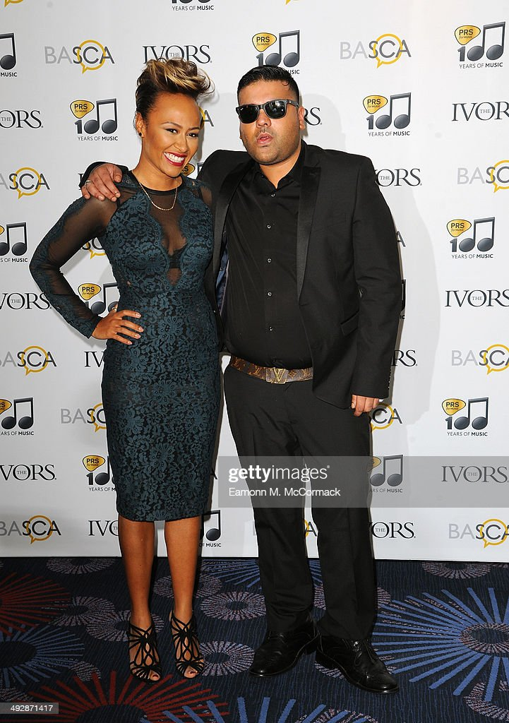 Emeli Sande and Naughty Boy attends the Ivor Novello Awards at The Grosvenor House Hotel on May 22 2014 in London England