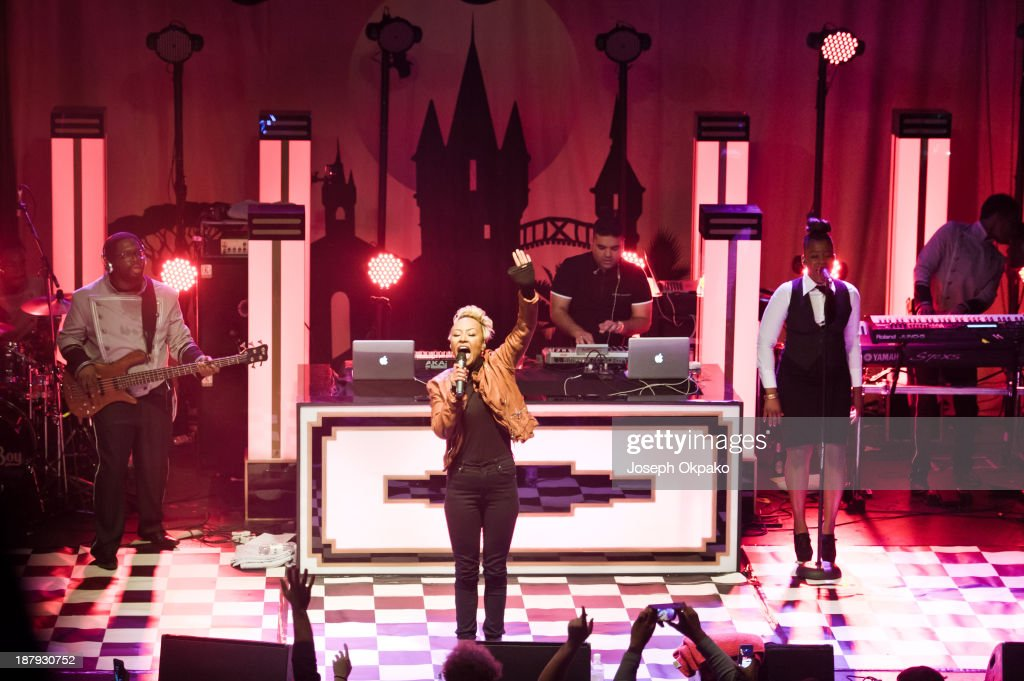 Emeli Sande and Naughty Boy perform on stage at Electric Brixton on November 13 2013 in London England