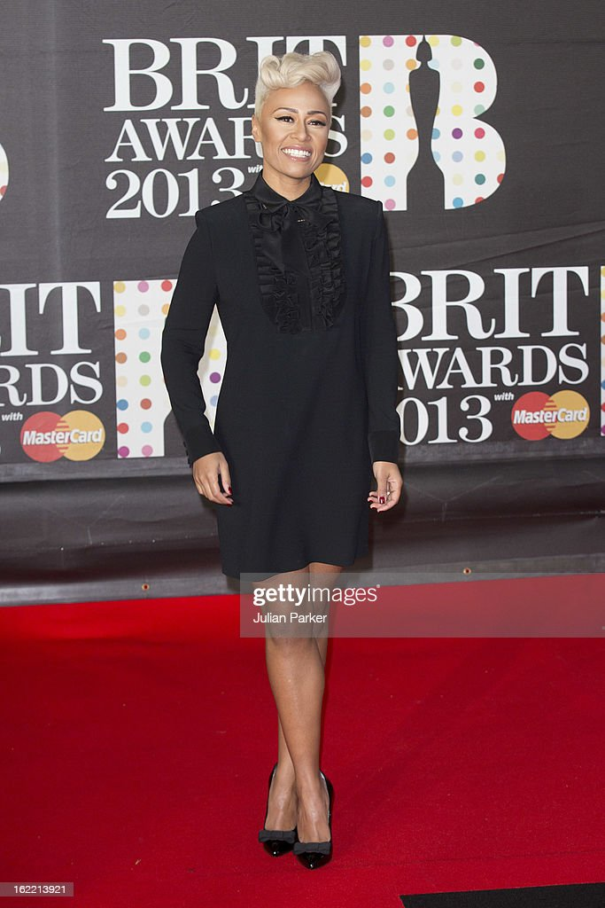 <a gi-track='captionPersonalityLinkClicked' href=/galleries/search?phrase=Emeli+Sande&family=editorial&specificpeople=7220317 ng-click='$event.stopPropagation()'>Emeli Sande</a> attends the Brit Awards 2013 at the 02 Arena on February 20, 2013 in London, England.