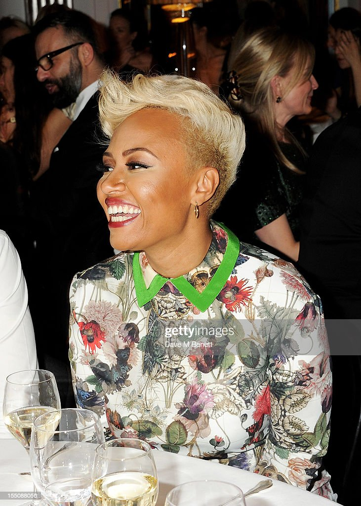 (MANDATORY CREDIT PHOTO BY DAVE M BENETT/GETTY IMAGES REQUIRED) Emeli Sande attends the Harper's Bazaar Women of the Year Awards 2012, in association with Estee Lauder, Harrods and Tiffany & Co., at Claridge's Hotel on October 31, 2012 in London, England.