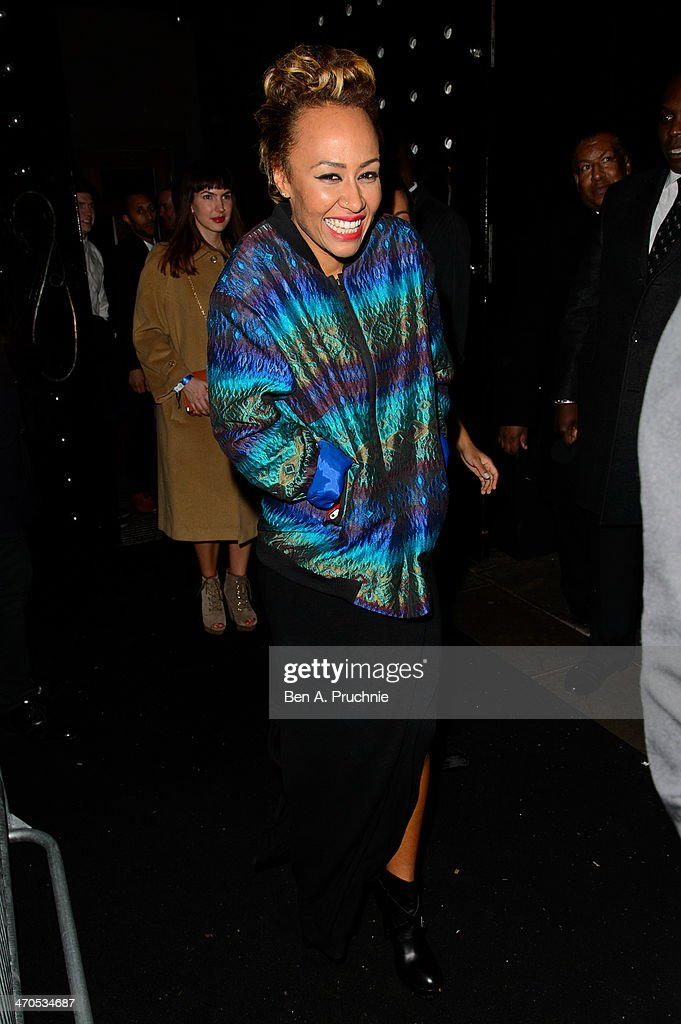 Emeli Sande attends the Universal music afterparty for The BRIT Awards 2014 at Soho House 'Popup' Bar on February 19, 2014 in London, England.