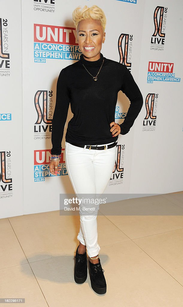 Emeli Sande attends 'Unity: A Concert For Stephen Lawrence' in aid of The Stephen Lawrence Charitable Trust at the O2 Arena on September 29, 2013 in London, England.