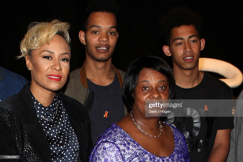 Emeli Sande, Doreen Lawrence and the Rizzle Kicks attend a press conference and photocall to accounce 'Unity - A Concert for Stephen Lawrence' at Abbey Road Studios on June 18, 2013 in London, England.>>