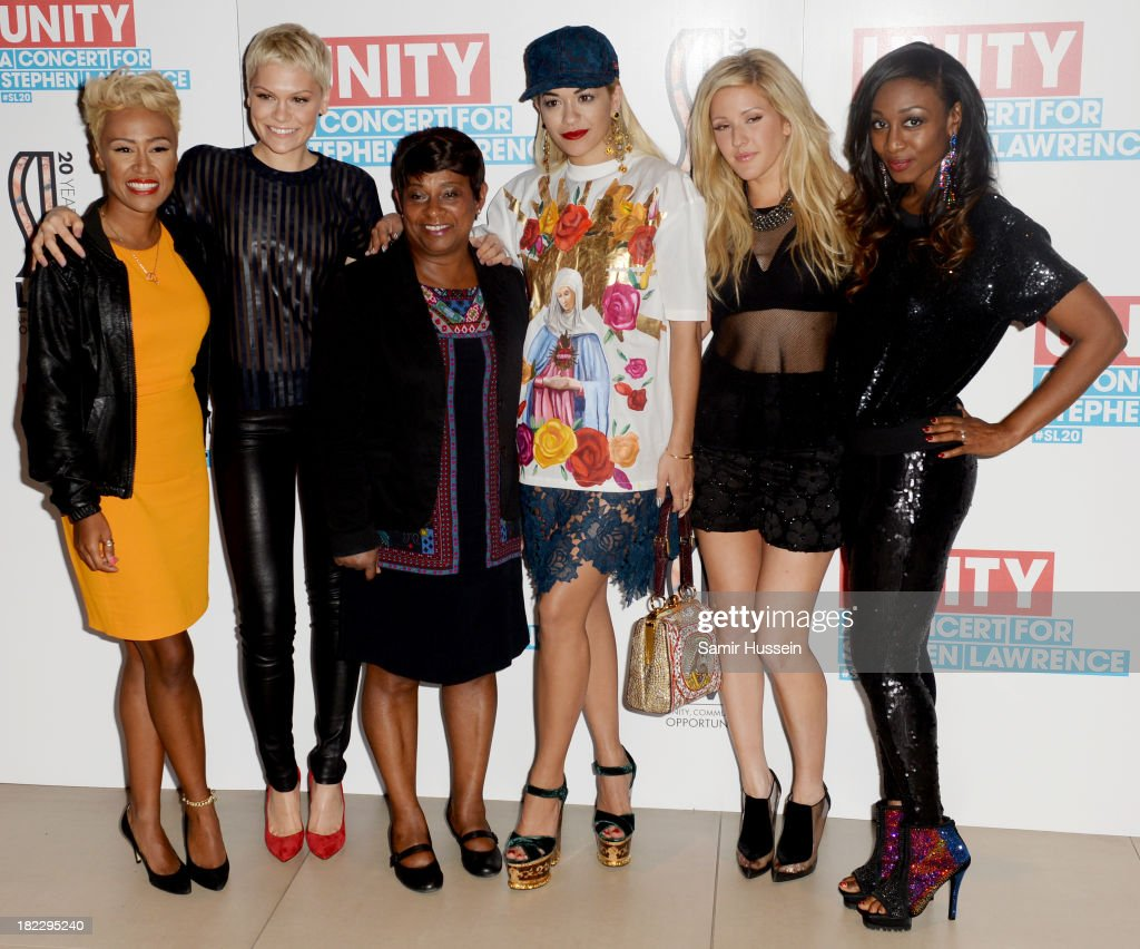 <a gi-track='captionPersonalityLinkClicked' href=/galleries/search?phrase=Emeli+Sande&family=editorial&specificpeople=7220317 ng-click='$event.stopPropagation()'>Emeli Sande</a>, <a gi-track='captionPersonalityLinkClicked' href=/galleries/search?phrase=Jessie+J&family=editorial&specificpeople=5737661 ng-click='$event.stopPropagation()'>Jessie J</a>, Baroness Doreen Lawrence, <a gi-track='captionPersonalityLinkClicked' href=/galleries/search?phrase=Rita+Ora&family=editorial&specificpeople=5686485 ng-click='$event.stopPropagation()'>Rita Ora</a>, <a gi-track='captionPersonalityLinkClicked' href=/galleries/search?phrase=Ellie+Goulding&family=editorial&specificpeople=6389309 ng-click='$event.stopPropagation()'>Ellie Goulding</a>, and <a gi-track='captionPersonalityLinkClicked' href=/galleries/search?phrase=Beverley+Knight&family=editorial&specificpeople=204569 ng-click='$event.stopPropagation()'>Beverley Knight</a> attend the Unity concert in memory of Stephen Lawrence at O2 Arena on September 29, 2013 in London, England.