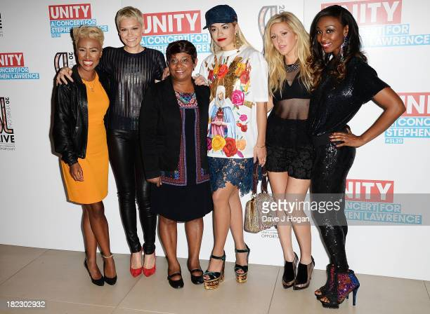 Emeli Sande Jessie J Doreen Lawrence Rita Ora Ellie Goulding and Beverley Knight pose in the green room at 'Unity A Concert For Stephen Lawrence' in...