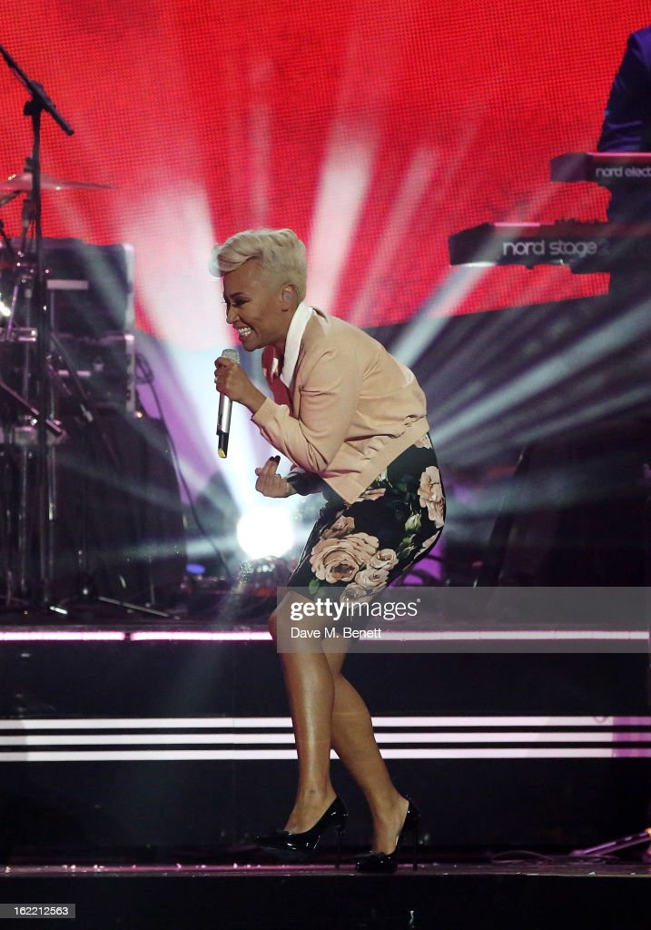 Emeli Sande performs at the Brit Awards at 02 Arena on February 20, 2013 in London, England.