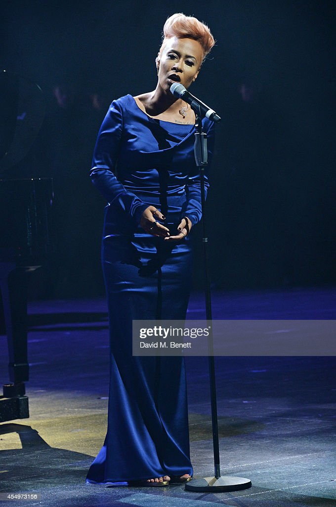 Emeli Sande performs at the global reveal of the new Jaguar XE in London at Earls Court on September 8 2014 in London England