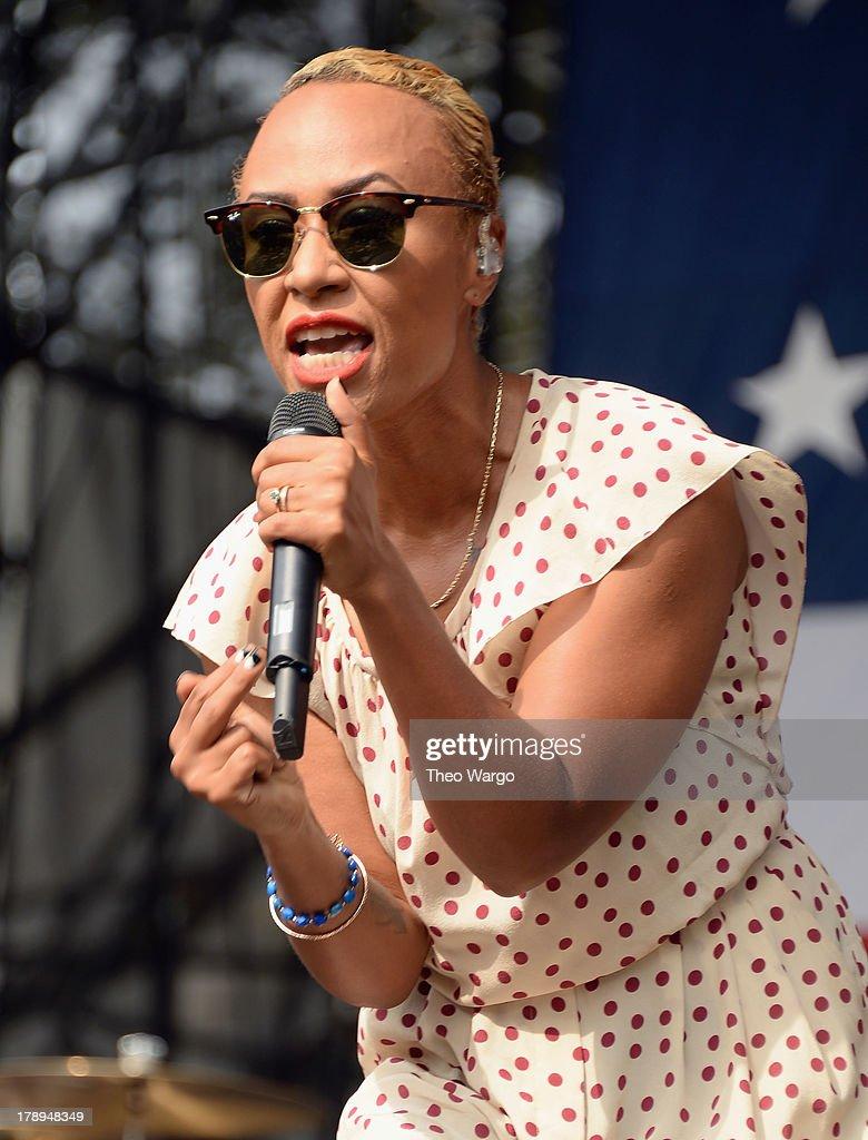 Emeli Sande performs during the 2013 Budweiser Made In America Festival at Benjamin Franklin Parkway on August 31 2013 in Philadelphia Pennsylvania