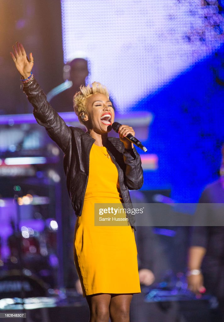 Emeli Sande performs live on stage at the Unity concert in memory of Stephen Lawrence at O2 Arena on September 29, 2013 in London, England.