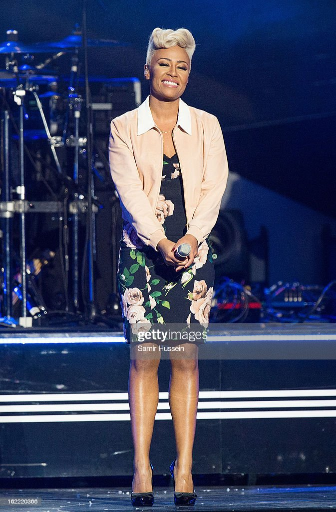 Emeli Sande performs live on stage during the Brit Awards 2013 at 02 Arena on February 20 2013 in London England