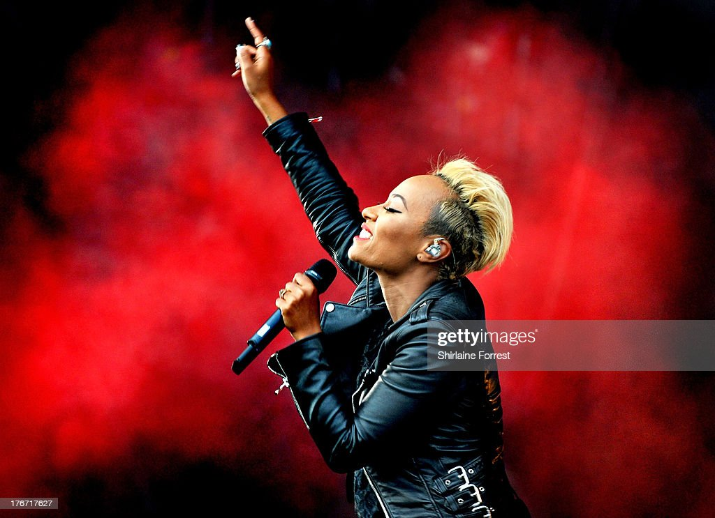 Emeli Sande performs on day 1 of the V Festival at Weston Park on August 17, 2013 in Stafford, England.