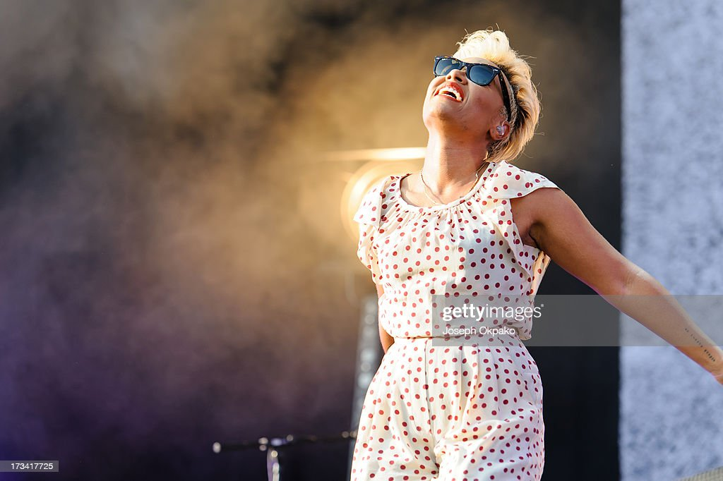 Emeli Sande performs on day 2 of the Yahoo! Wireless Festival at Queen Elizabeth Olympic Park on July 13, 2013 in London, England.