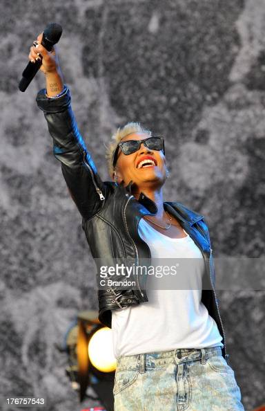Emeli Sande performs on stage during the final day of the V Festival 2013 at Hylands Park on August 18 2013 in Chelmsford England