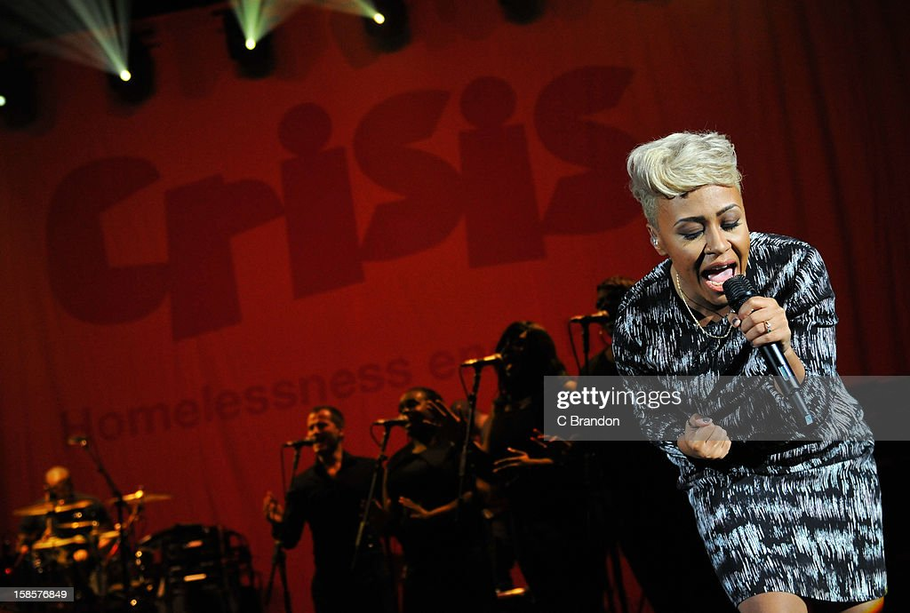 Emeli Sande performs on stage for the Crisis Presents concert at Hammersmith Apollo on December 19, 2012 in London, England.