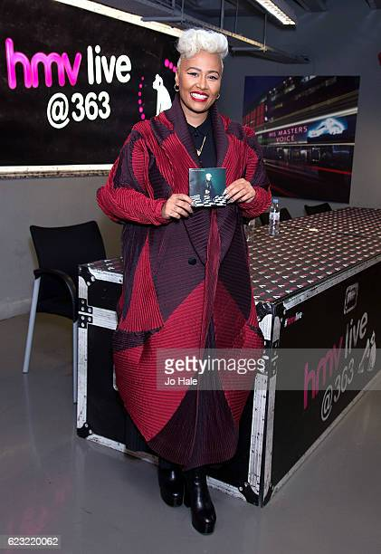 Emeli Sande poses before signing copies of her new album Long Live The Angels at HMV Oxford Street on November 14 2016 in London England