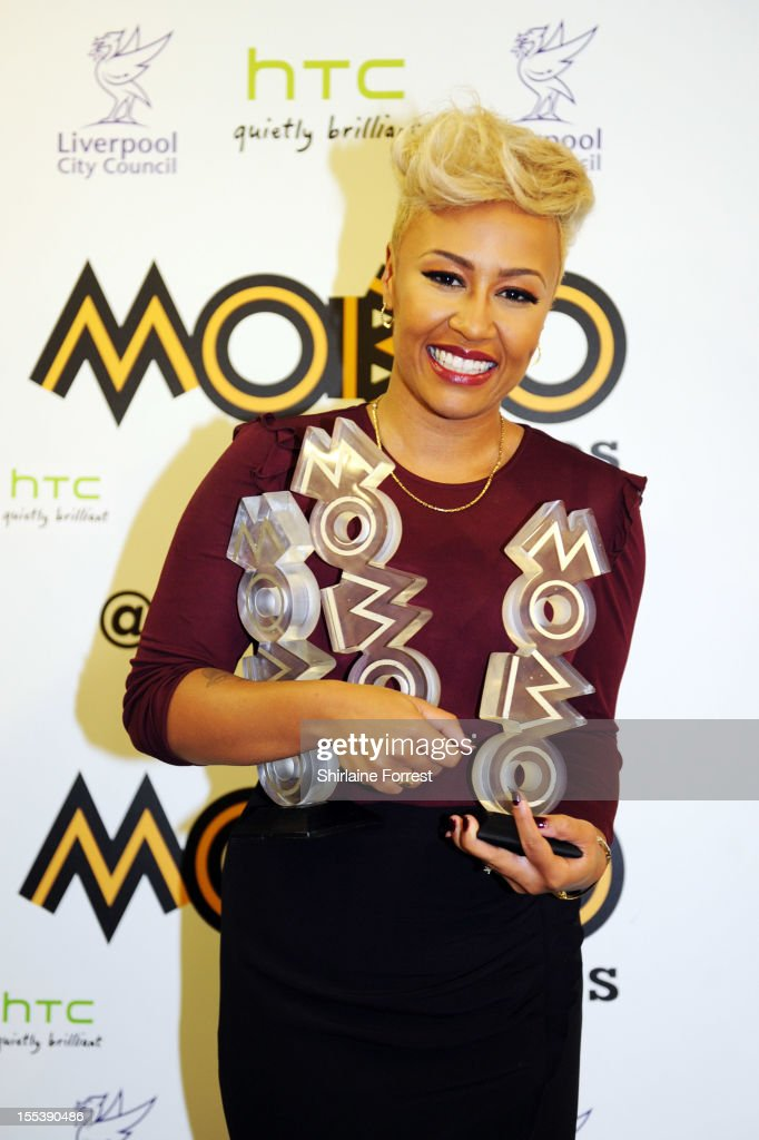 Emeli Sande poses in the awards room at the 2012 MOBO awards at Echo Arena on November 3, 2012 in Liverpool, England.