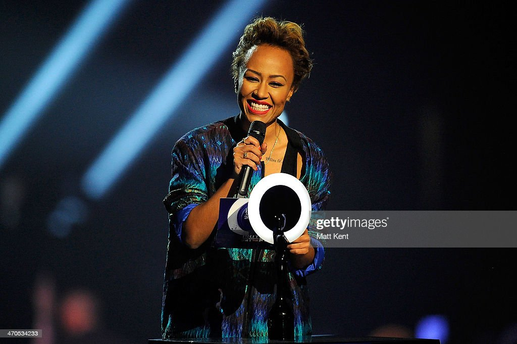 Emeli Sande presents the award british Album of the Year at The BRIT Awards 2014 at 02 Arena on February 19, 2014 in London, England.