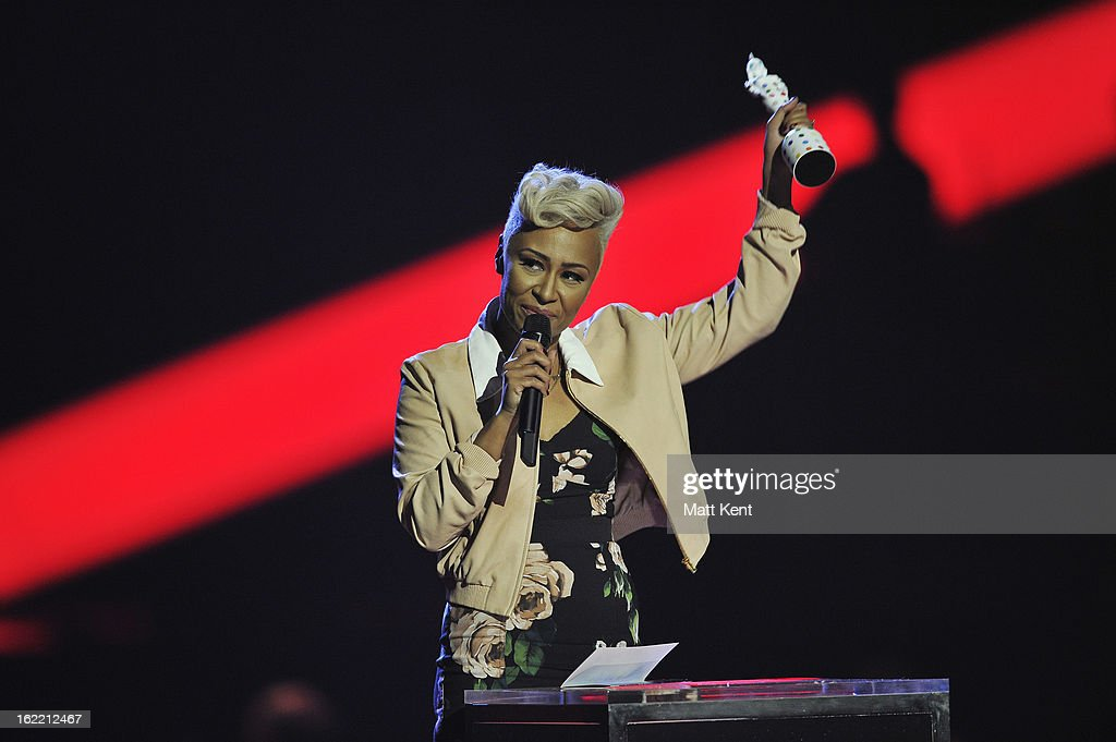 Emeli Sande receives the award for Best British Album on stage during the Brit Awards 2013 at the 02 Arena on February 20, 2013 in London, England.