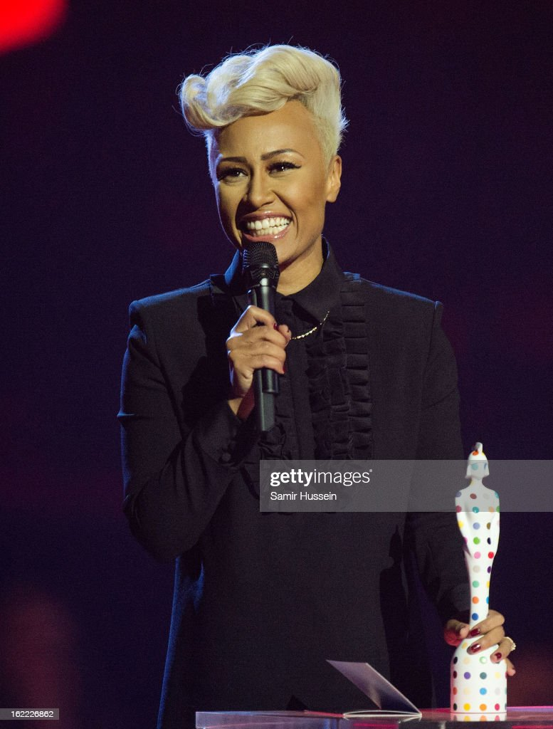 Emeli Sande receives the award for British Female Solo Artist on stage during the Brit Awards 2013 at the 02 Arena on February 20, 2013 in London, England.