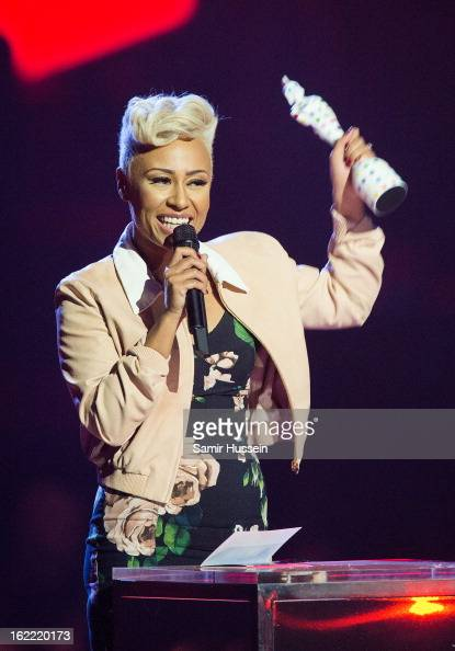 Emeli Sande receives the Mastercard British Album of Year on stage during the Brit Awards 2013 at 02 Arena on February 20 2013 in London England