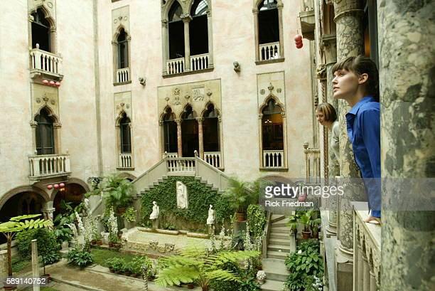 Emelie Gavalt and Gwen Axtel both from of Cambridge take in the view from the balcony in the courtyard of the Isabella Stewart Gardner Museum in...
