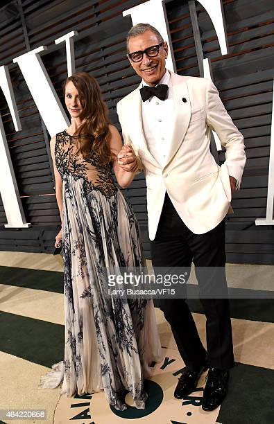 Emelie Livingston and actor Jeff Goldblum attend the 2015 Vanity Fair Oscar Party hosted by Graydon Carter at the Wallis Annenberg Center for the...