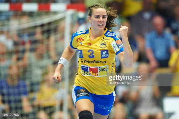 Emelie Westberg of Nykobing Falster Handbold celebrate after goal during the Primo Tours Ligaen 3 Final match between Nykobing Falster Handbold and...