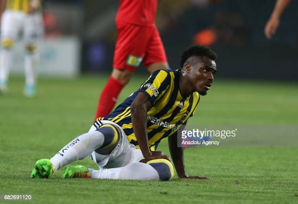 Emenike of Fenerbahce gestures during the Turkish Spor Toto Super Lig soccer match between Fenerbahce and Antalyaspor at the Ulker Stadium in...