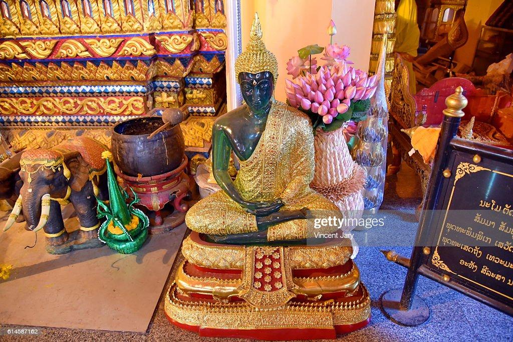 emerald buddha at Wat Ong Teu buddhism temple Vientiane Laos : Photo