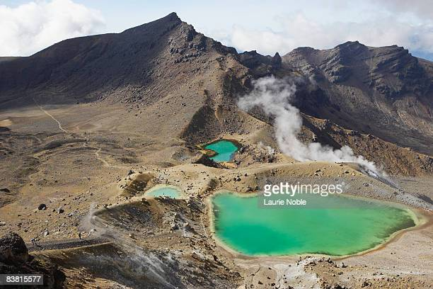 Emerald lakes in Tongariro Crossing, Ruapehu.