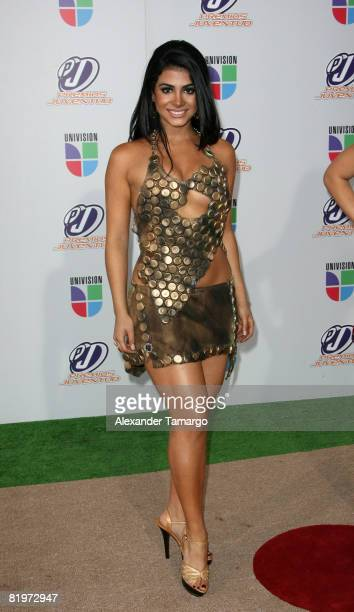 Emeraude Toubia poses on the red carpet at the Premio Juventud Awards at Bank United Center on July 17 2008 in Miami Florida