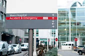 Emergency and Hospital Sign to the Entrance