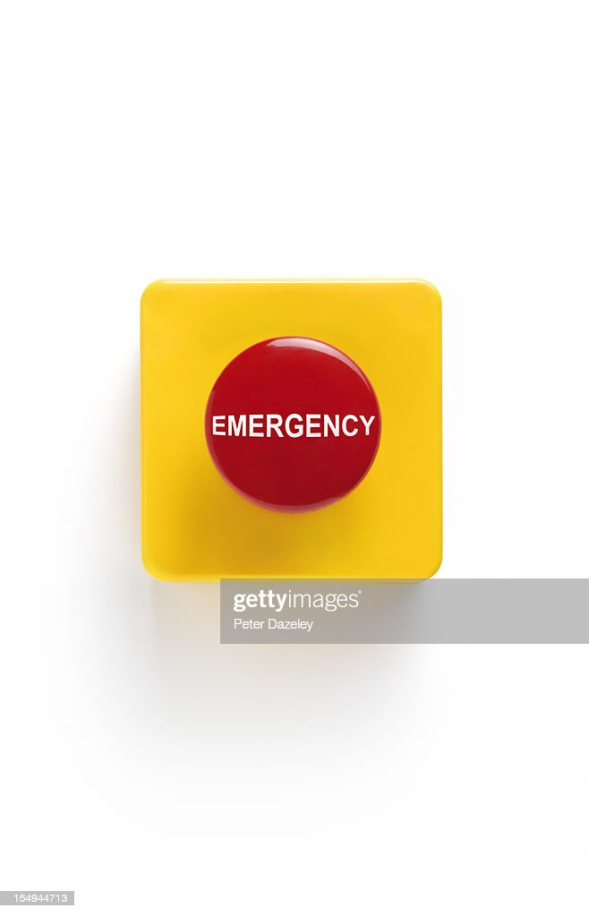 Emergency button on white background