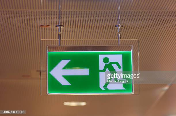 Emergency exit sign, close-up